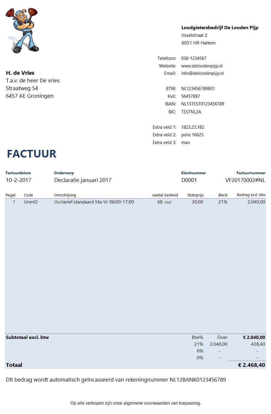 auto factuur factuur auto incasso   Boekhouden in Excel