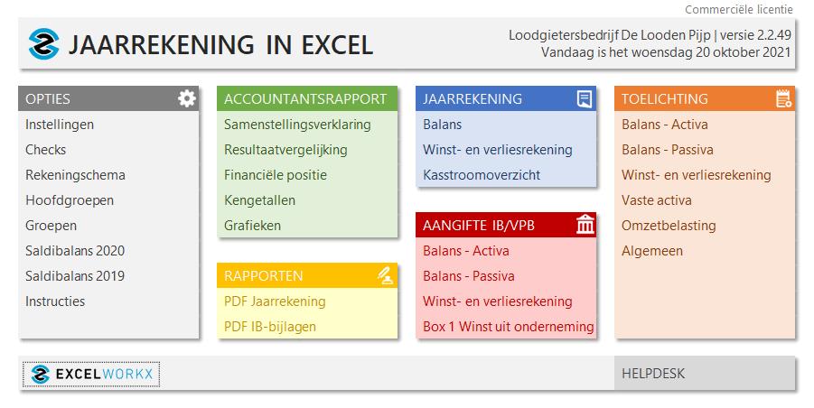 Jaarrekening in Excel Pro 2.2