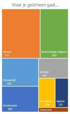 Simpel huishoudbudget treemap excel 2016