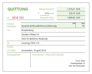 Kwitantie in Excel