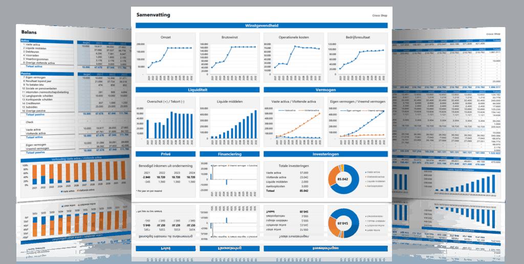 Financieel Meerjarenplan in Excel 3.0 - 3 voorbeeld schermen