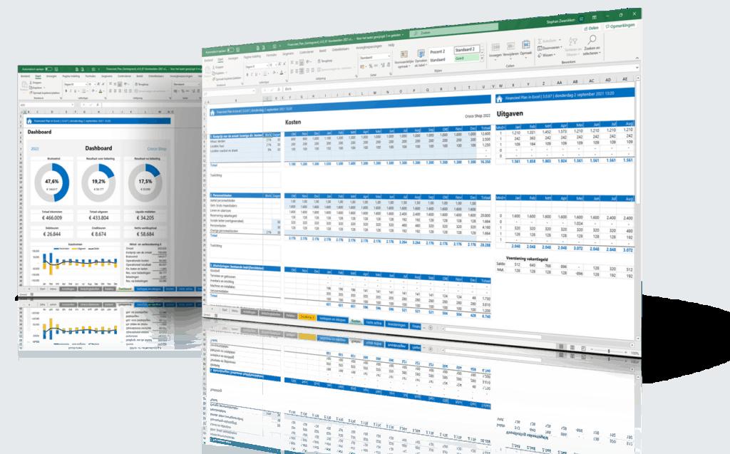 2 screenshots van het financieel plan in excel 3.0