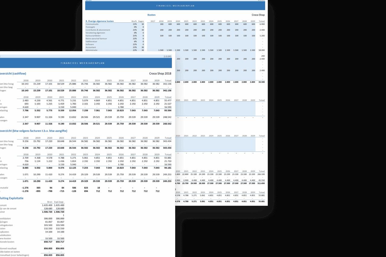 Financieel Meerjarenplan in Excel