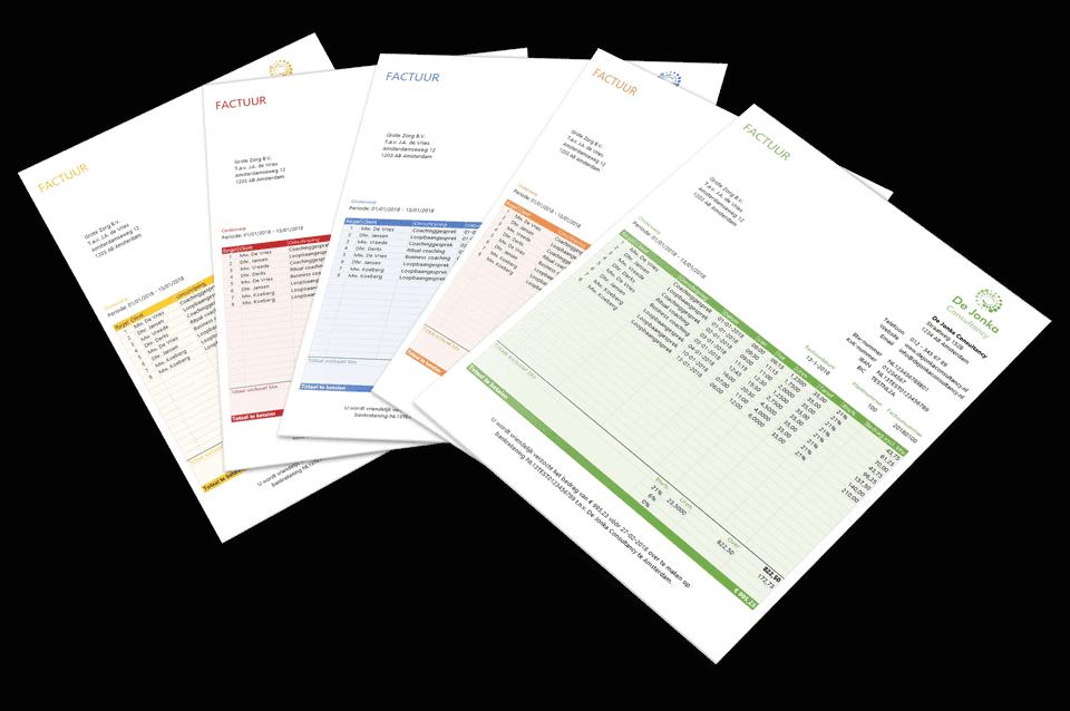 Coaching factuur en urenstaat in 10 kleuren en 2 stijlen