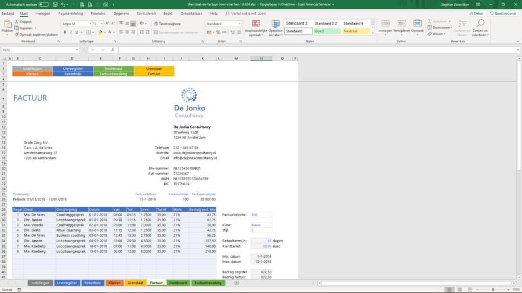 Urenstaat en factuur voor coaches schermvoorbeeld