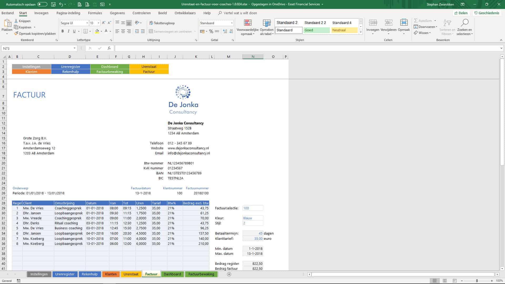 voorbeeld factuur coaching Urenstaat en Factuur voor Coaches   uniek sjabloon in Excel voor