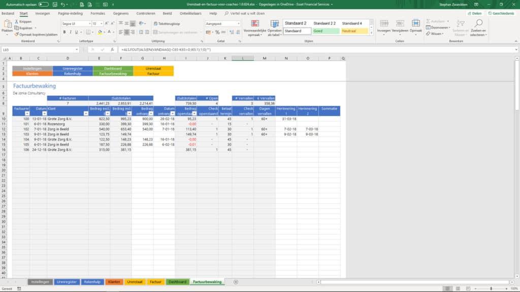 Coaching factuur en urenstaat dashboard schermvoorbeeld