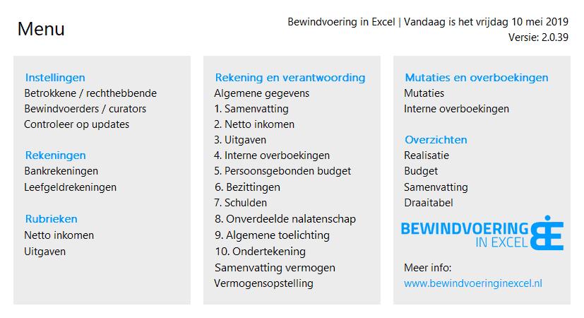 Bewindvoering in Excel menu