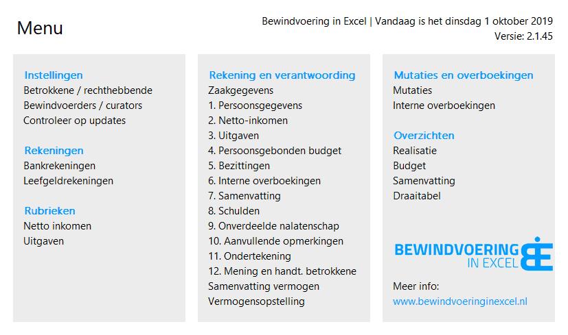 Bewindvoering in Excel 2.1 Menu