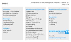 Bewindvoering in Excel 2.3 menu