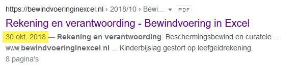 Indexatiedatum google van bewindvoering in excel