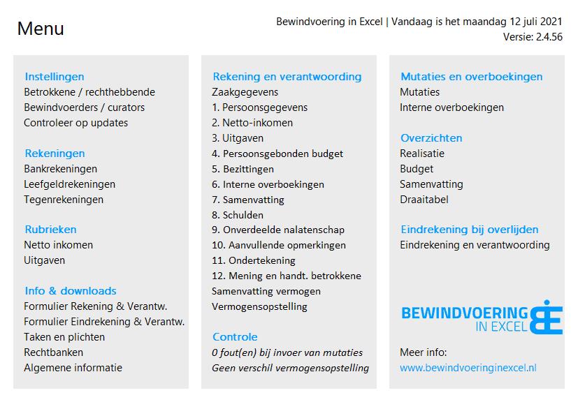Bewindvoering in Excel 2.4 menu