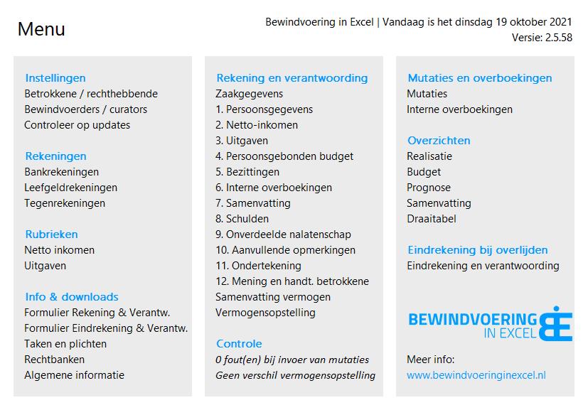 Bewindvoering in Excel 2.5 menu