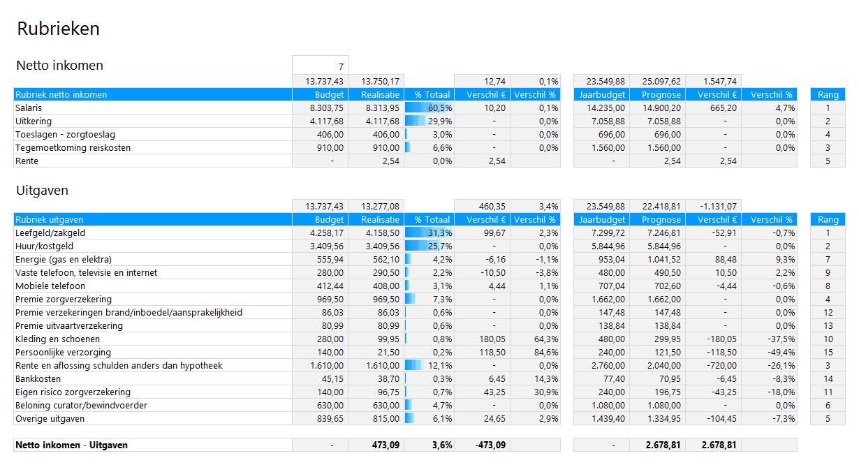 Bewindvoering in Excel - vergelijk rubrieken met budget en prognose