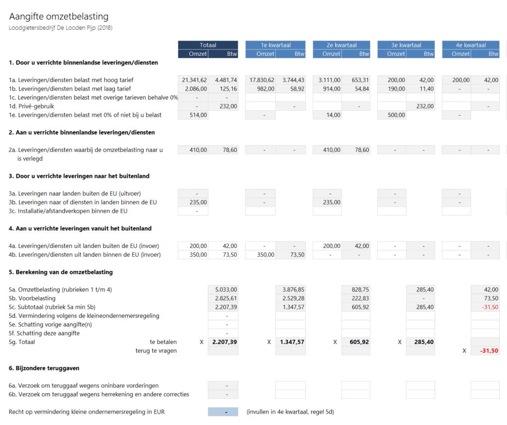 Btw aangifte Boekhouden in Excel 5.1