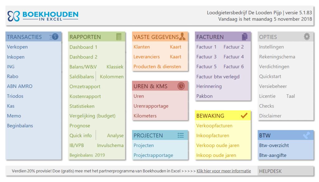 Boekhouden in Excel 5.1 Menu