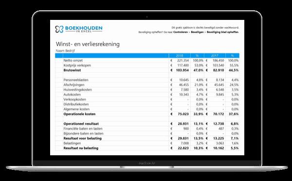 excel boekhouding templates winst en verliesrekening voorbeeld