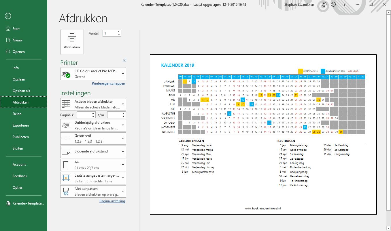 Excel printen