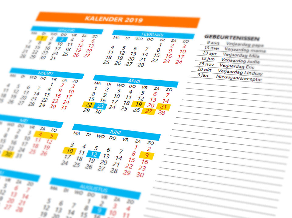 Excel Kalender template closeup