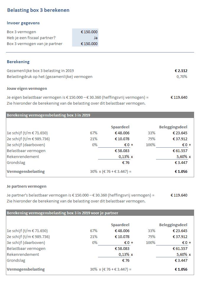 Sparen & Beleggen: belasting box 3 berekenen