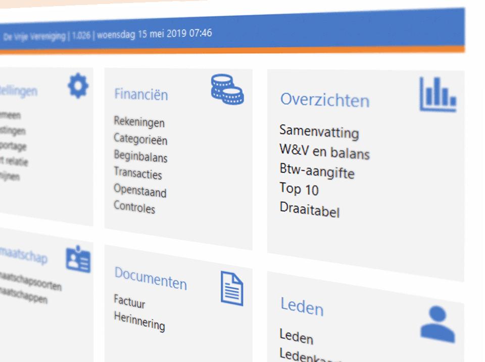 Excel ledenadministratie menu