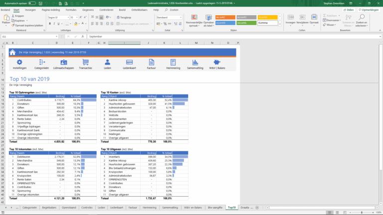 Excel ledenadministratie vereniging