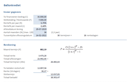 Ballonkrediet invoer gegevens en berekening