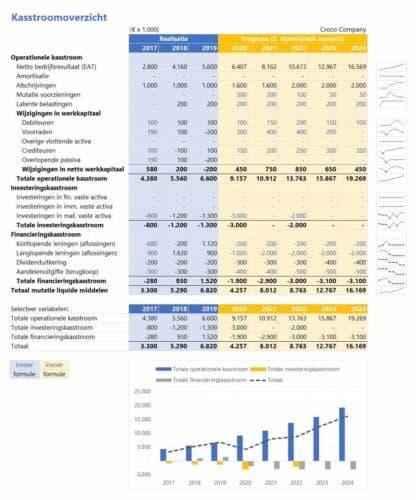 Financieel rapportagemodel - kasstroomoverzicht