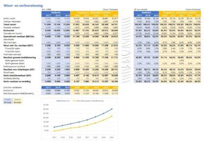 Financieel rapportagemodel - winst- en verliesrekening