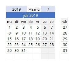 Kies het jaar en de maand