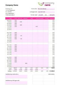 Vierwekelijkse urenstaat in Excel