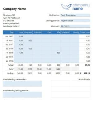 Wekelijkse urenstaat werknemer decimaal-formaat