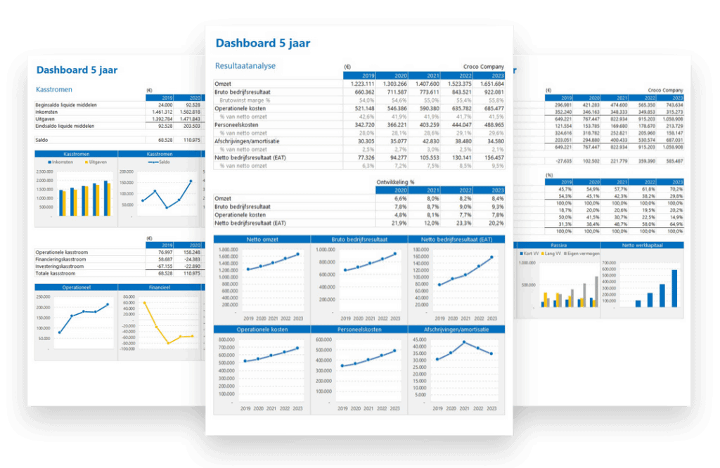 Financieel Plan in Excel 5 jaar dashboard