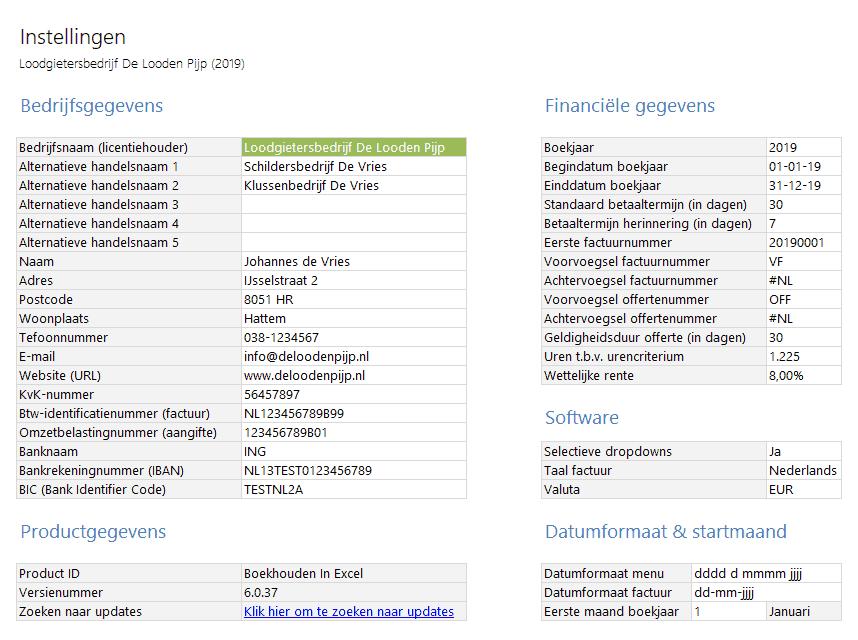 Overzichtelijke instellingen binnen Boekhouden in Excel 6.0