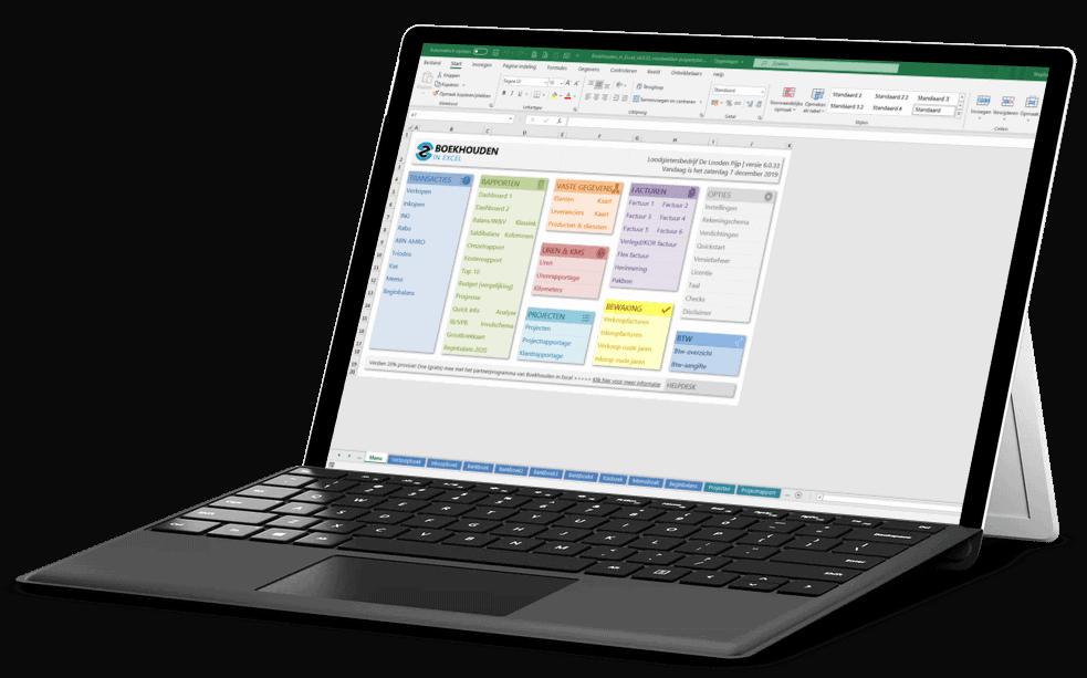 Boekhouden in Excel op een Surface Pro 4