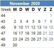 Vakantieplanner per maand maandkalender