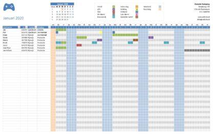 Vakantieplanner per maand voorbeeld zonder totalen
