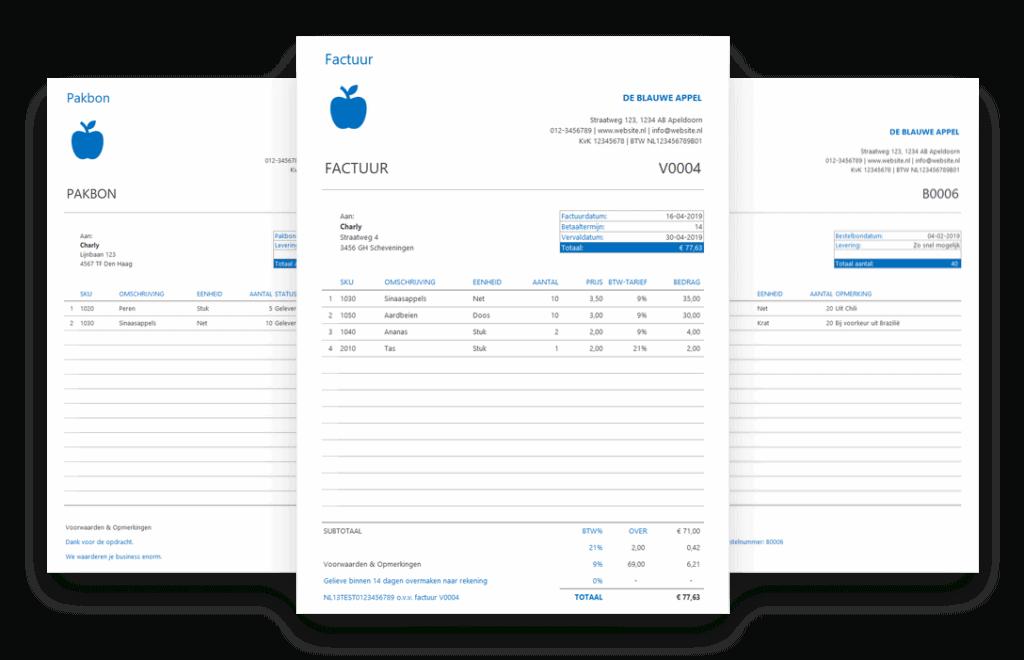 Voorraadbeheer Excel - factuur, pakbon en bestelbon