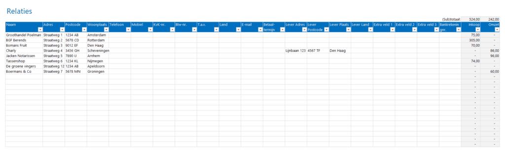Klanten en leveranciers in één tabel