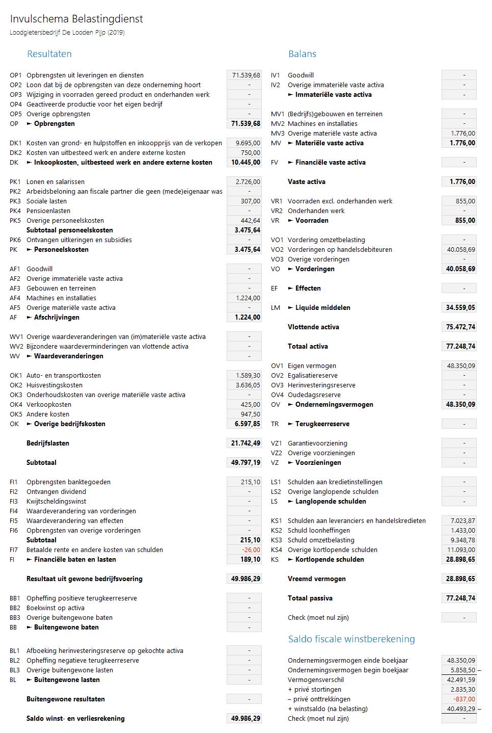 Invulschema Belastingdienst