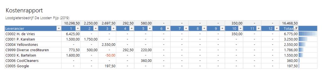 Kostenrapport per leverancier per maand