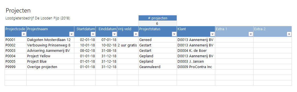Projecten aanmaken in Boekhouden in Excel