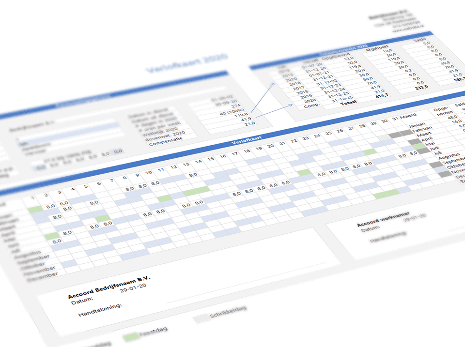 Verlofkaart in Excel 5.0