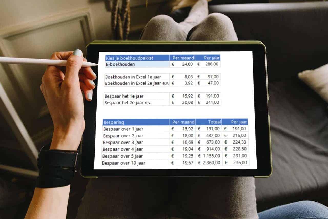 prijsvergelijking boekhouden in excel met e-boekhouden