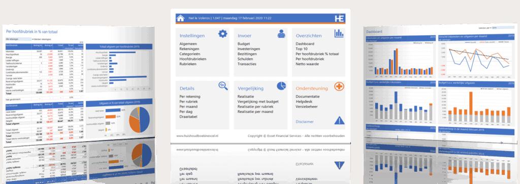 Huishoudboek in Excel - schermvoorbeelden