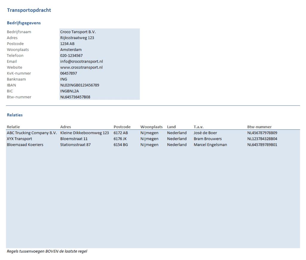 Transportopdracht bedrijfsgegevens en lijst relaties