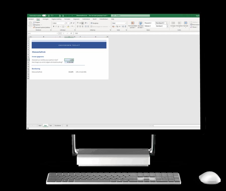Excel meewerkaftrek fiscale partner