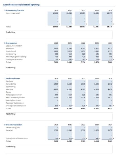 Exploitatiebegroting Excel maken - stap 2
