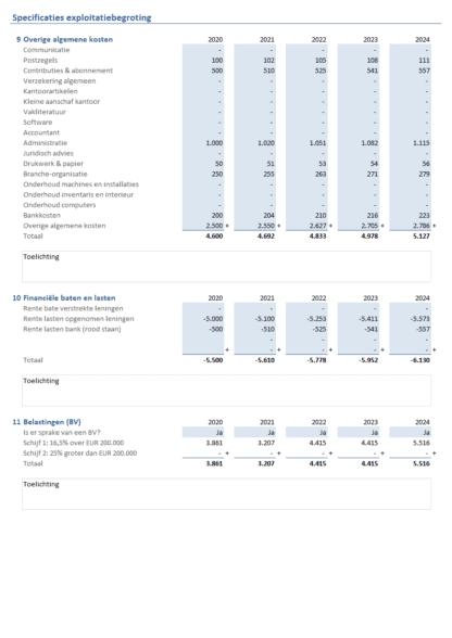 Exploitatiebegroting Excel maken - stap 3