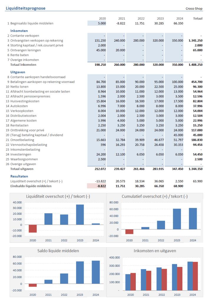 Liquiditeitsprognose 5 jaar